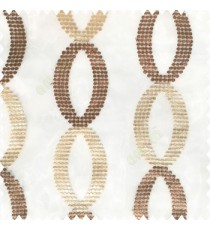 Dark chocolate brown beige white color traditional designs silver zari embroidery small dots oval shapes with transparent net fabric polyester sheer curtain