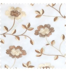 Dark chocolate brown beige white color beautiful flower silver zari embroidery elegant look finished small leaves long branches with blossoms transparent net fabric polyester sheer curtain