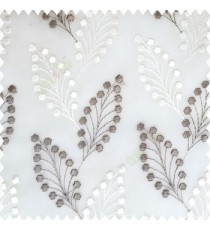 Grey cream white color beautiful flower embossed patterns embroidery leaves cotton buds small circles designs with polyester net base fabric sheer curtain