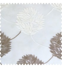 Grey cream white color big texture floral leaves interconnected with embroidery chain small leaf bunch polyester net base fabric sheer curtain