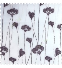 Black grey white color beautiful small flowers elegant look silver zari embroidery with transparent base fabric polyester sheer curtain