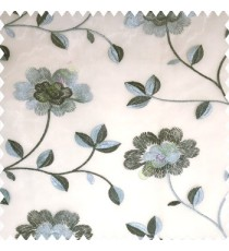 Blue grey white color beautiful flower silver zari embroidery elegant look finished small leaves long branches with blossoms transparent net fabric polyester sheer curtain