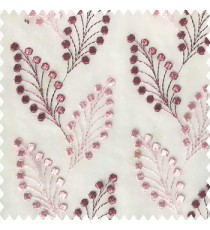 Dark pink with baby pink white color beautiful flower embossed patterns embroidery leaves cotton buds small circles designs with polyester net base fabric sheer curtain