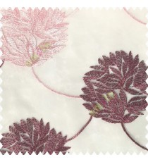 Dark pink with baby pink white color big texture floral leaves interconnected with embroidery chain small leaf bunch polyester net base fabric sheer curtain