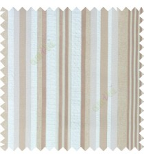 Beige brown color vertical embossed mixed of bold and pencil stripes with texture finished surface soft touch polyester main curtain
