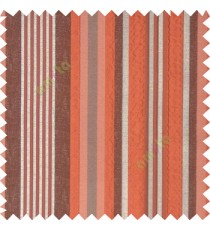 Orange silver brown color vertical embossed mixed of bold and pencil stripes with texture finished surface soft touch polyester main curtain