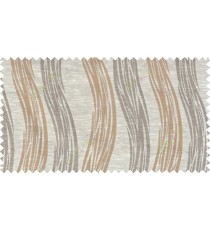 Beige brown colour vertical wavy stripes polycotton main curtain designs
