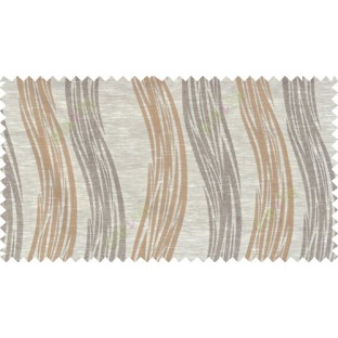 Beige brown colour vertical wavy stripes polycotton main curtain designs