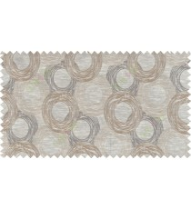 Beige brown colour seamless geometric circle pattern polycotton main curtain designs