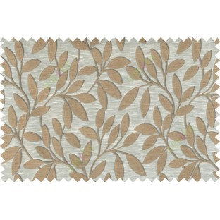 Beige brown colour leafy pattern with thick background fab polycotton main curtain designs