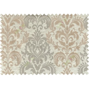 Beige brown color seamless elegant damask pattern polycotton main curtain designs