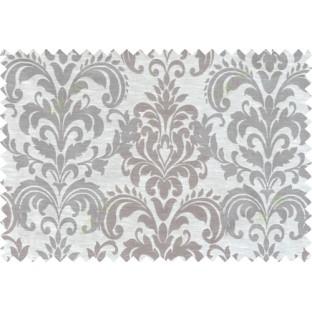 Brown beige color seamless elegant damask pattern polycotton main curtain designs