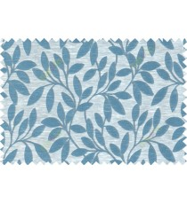Blue beige grey colour leafy pattern with thick background fab polycotton main curtain designs