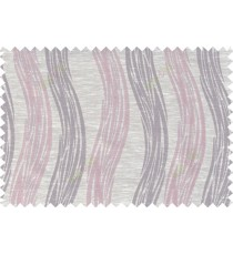 Pink beige brown colour vertical wavy stripes polycotton main curtain designs