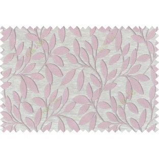 Pink beige brown colour leafy pattern with thick background fab polycotton main curtain designs