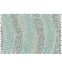 Blue beige grey colour vertical wavy stripes polycotton main curtain designs