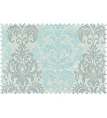 Blue beige grey color seamless elegant damask pattern polycotton main curtain designs
