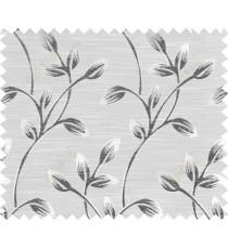 Black beige colour beautiful natural floral design polycotton main curtain designs