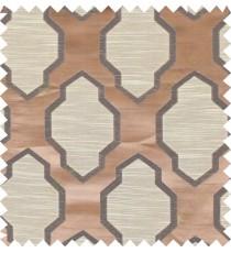 Black brown beige colour ogee pattern polycotton main curtain designs