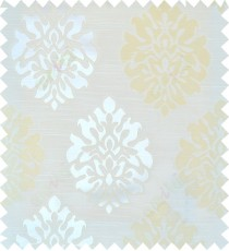 Beige yellow white colour traditional damask design polycotton main curtain designs