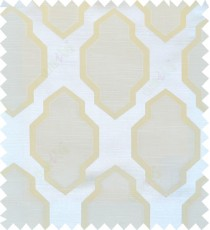 Beige yellow white colour ogee pattern polycotton main curtain designs