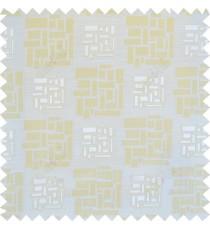 Beige yellow white colour geometric design polycotton main curtain designs