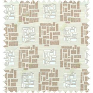 Brown beige colour geometric design polycotton main curtain designs