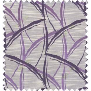 Purple beige black colour grass leaf patter polycotton main curtain designs
