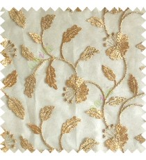 Gold silver color beautiful natural flower leaf vertical flowing embroidery texture finished with transparent net fabric see through sheer curtain