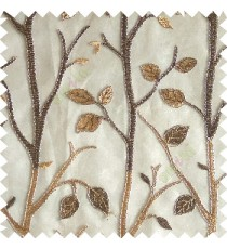 Gold brown silver color natural tree leaf elegant look texture finished embroidery designs traditional patterns transparent background sheer curtain