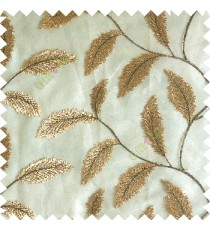 Brown gold color beautiful floral big size leaf embroidery pattern with transparent background zigzag designs main curtain