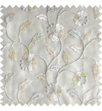 Cream silver color beautiful natural flower leaf vertical flowing embroidery texture finished with transparent net fabric see through sheer curtain