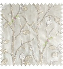 Cream silver color natural tree leaf elegant look texture finished embroidery designs traditional patterns transparent background sheer curtain