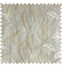 Cream color beautiful floral big size leaf embroidery pattern with transparent background zigzag designs sheer curtain