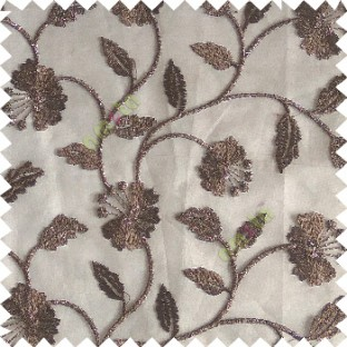 Dark chocolate brown silver color beautiful natural flower leaf vertical flowing embroidery texture finished with transparent net fabric see through sheer curtain