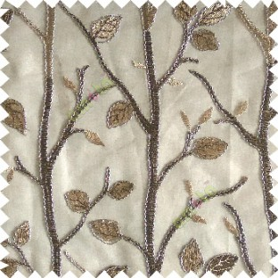 Dark chocolate brown beige silver color natural tree leaf elegant look texture finished embroidery designs traditional patterns transparent background sheer curtain