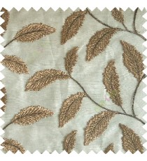 Dark chocolate brown color beautiful floral big size leaf embroidery pattern with transparent background zigzag designs sheer curtain