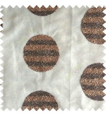 Dark chocolate brown color geometric circles shapes texture finished embroidery designs with transparent background horizontal stripes sheer curtain