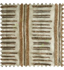Dark chocolate brown color horizontal and vertical embroidery stripes with transparent background sheer curtain