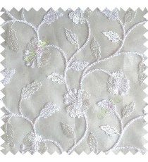 Pure white silver color beautiful natural flower leaf vertical flowing embroidery texture finished with transparent net fabric see through sheer curtain