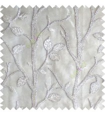 Pure white silver color natural tree leaf elegant look texture finished embroidery designs traditional patterns transparent background sheer curtain