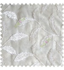 Pure white color beautiful floral big size leaf embroidery pattern with transparent background zigzag designs sheer curtain