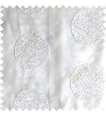 Pure white color geometric circles shapes texture finished embroidery designs with transparent background horizontal stripes sheer curtain