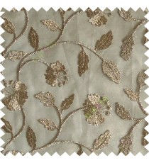 Brown silver color beautiful natural flower leaf vertical flowing embroidery texture finished with transparent net fabric see through sheer curtain