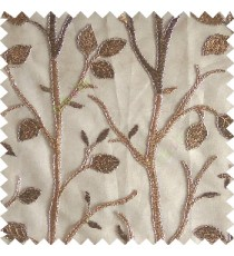 Brown silver color natural tree leaf elegant look texture finished embroidery designs traditional patterns transparent background sheer curtain