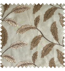Brown color beautiful floral big size leaf embroidery pattern with transparent background zigzag designs sheer curtain