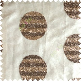 Brown gold color geometric circles shapes texture finished embroidery designs with transparent background horizontal stripes sheer curtain