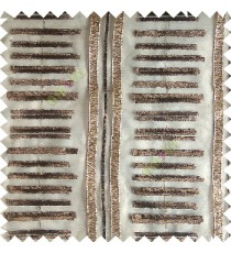 Brown gold color horizontal and vertical embroidery stripes with transparent background sheer curtain