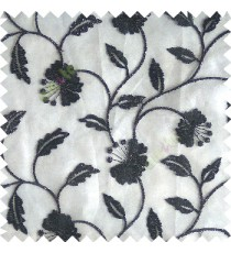 Black silver color beautiful natural flower leaf vertical flowing embroidery texture finished with transparent net fabric see through sheer curtain