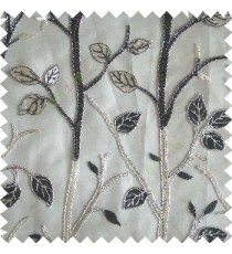 Black silver color natural tree leaf elegant look texture finished embroidery designs traditional patterns transparent background sheer curtain